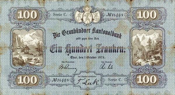 Switzerland 100 Franken (1872)