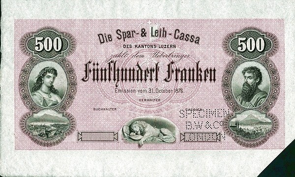 Switzerland 500 Franken (1876)