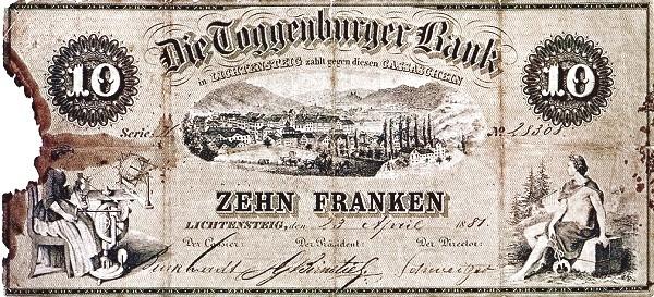 Switzerland 10 Franken (1865-1881)