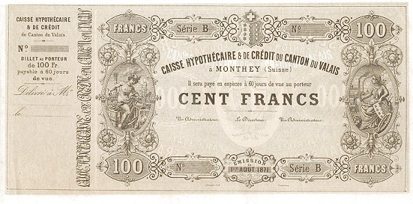 Switzerland 100 Francs (1871)