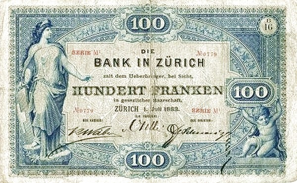 Switzerland 100 Francs (1883-1892)