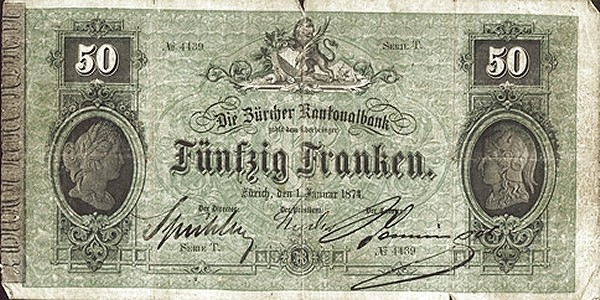 Switzerland 50 Francs (1870)
