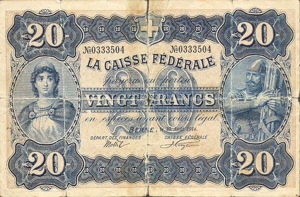 Switzerland 20 Francs (1914)