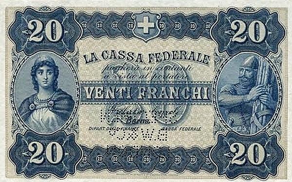 Switzerland 20 Franchi (1914)