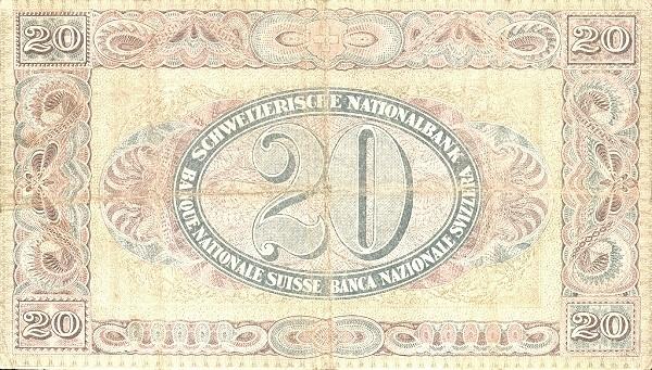 Switzerland 20 Franken (1911-1952)