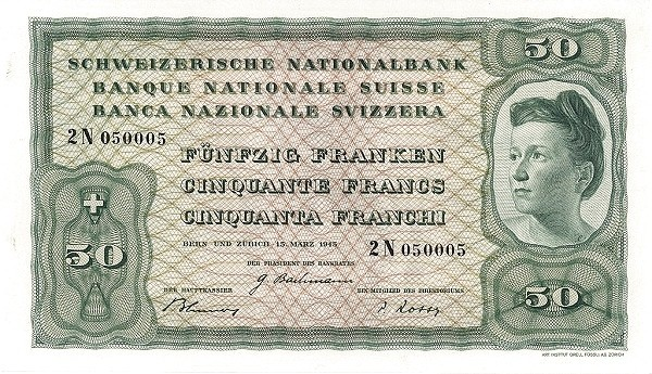 Switzerland 50 Franken (1941-1950)