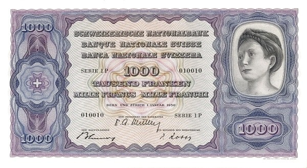 Switzerland 1000 Franken (1941-1950)