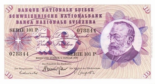Switzerland 10 Franken (1954-1977)