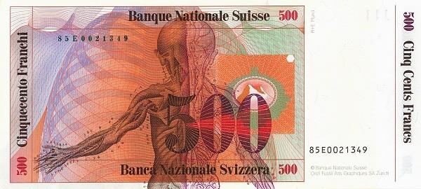 Switzerland 500 Franken (1983-1985)