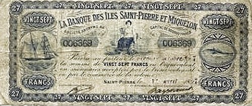 Saint Pierre & Miquelon 27 Francs (1897)