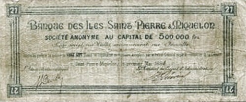 Saint Pierre & Miquelon 27 Francs (1895)