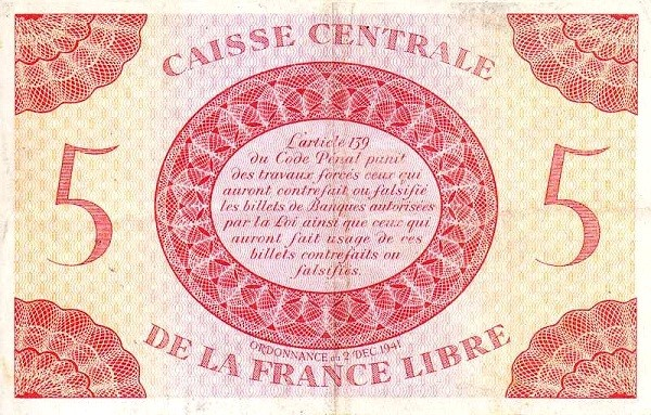 Saint Pierre & Miquelon 5 Francs (1941)