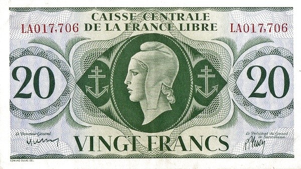 Saint Pierre & Miquelon 20 Francs (1941)