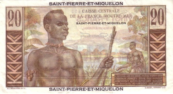 Saint Pierre & Miquelon 20 Francs (1950-1960)