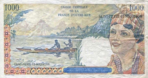 Saint Pierre & Miquelon 1000 Francs (1950-1960)