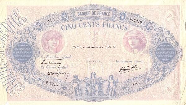 France 500 Francs (1937-1942)