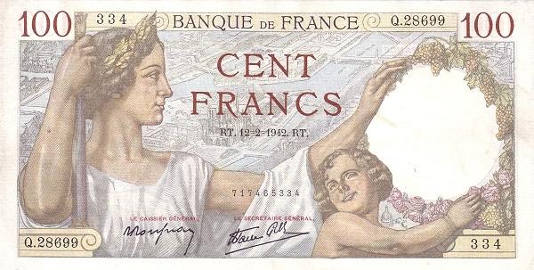 France 100 Francs (1939-1945)