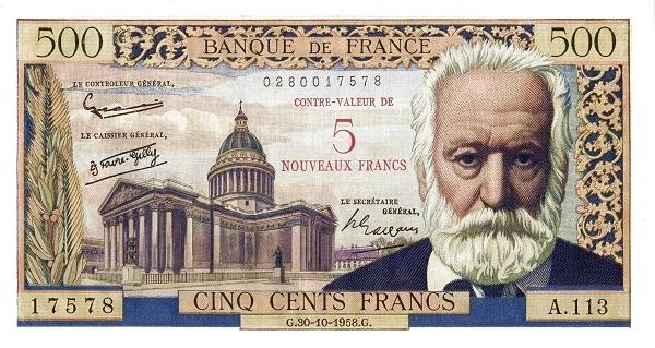 France 5 Nouveaux Francs (1958 Côntre-Valeur Provisional Nouveaux Francs)