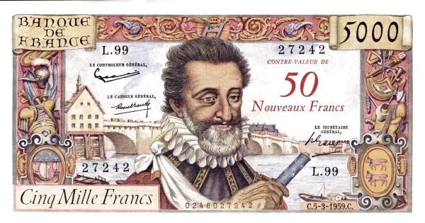 France 50 Nouveaux Francs (1958 Côntre-Valeur Provisional Nouveaux Francs)