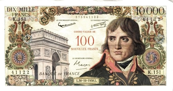 France 100 Nouveaux Francs (1958 Côntre-Valeur Provisional Nouveaux Francs)
