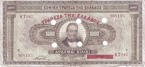 Greece 1000 Drachmai (1941 Emergency Cancelled Notes)