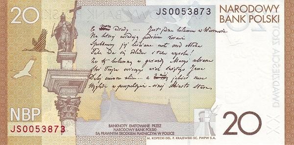 Poland 20 Zloty (Juliusz Slowacki)