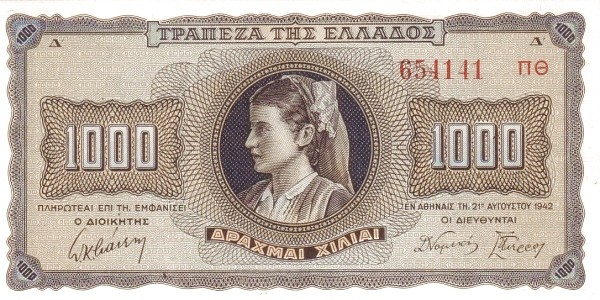 Greece 1000 Drachmai (1942)