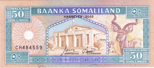 Somaliland 50 Shillings (1996-2002  50 Shilin Larger Size)