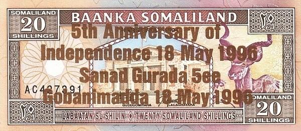 Somaliland 20 Shillings (1996 Bronze Commemorative)
