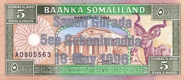 Somaliland 5 Shillings (1996 Silver Commemorative)