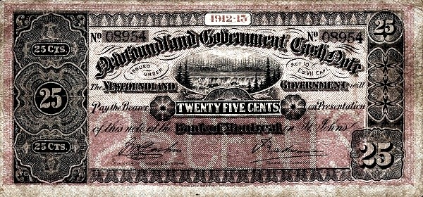 Canada 25 Cents (Government Of Newfoundland 1910-1914 Cash Note)