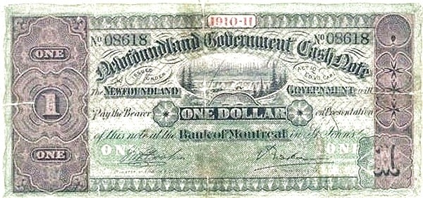 Canada 1 Dollar (Government Of Newfoundland 1910-1914 Cash Note)