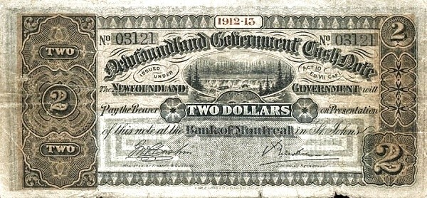 Canada 2 Dollars (Government Of Newfoundland 1910-1914 Cash Note)