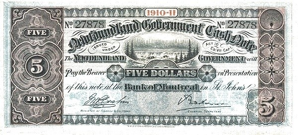 Canada 5 Dollars (Government Of Newfoundland 1910-1914 Cash Note)