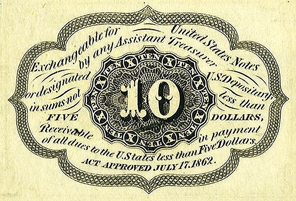 United States 10 Cents (1862 Postage Currency)