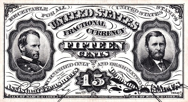 United States 15 Cents (1863 Third Issue)