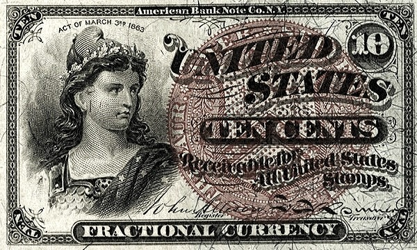 United States 10 Cents (1863 Fourth Issue)
