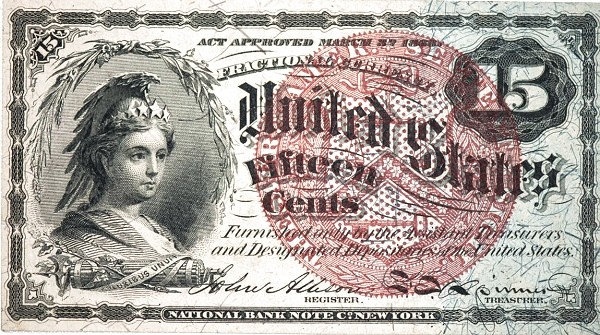 United States 15 Cents (1863 Fourth Issue)