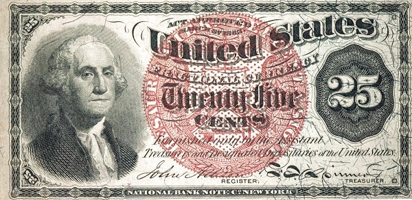 United States 25 Cents (1863 Fourth Issue)