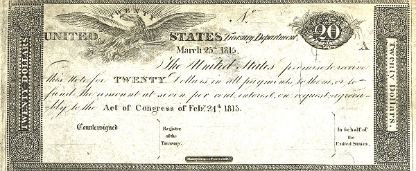 United States 20 Dollars (1815 Treasury Note of the War of 1812)
