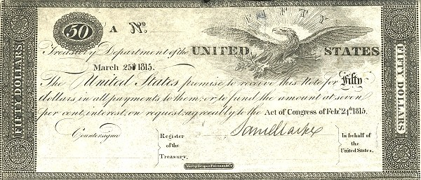 United States 50 Dollars (1815 Treasury Note of the War of 1812)