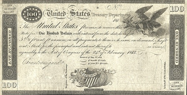 United States 100 Dollars (1815 Treasury Note of the War of 1812)