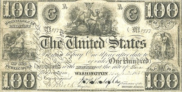 United States 100 Dollars (Interest Bearing Treasury Note of the Panic of 1837)