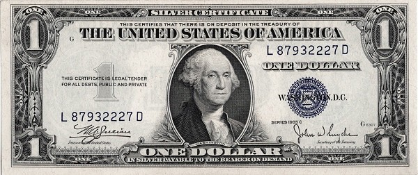 United States 1 Dollar (1935 Silver Certificate-Blue Seal)