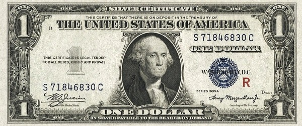 United States 1 Dollar (1935 Silver Certificate-Blue Seal-Red R)
