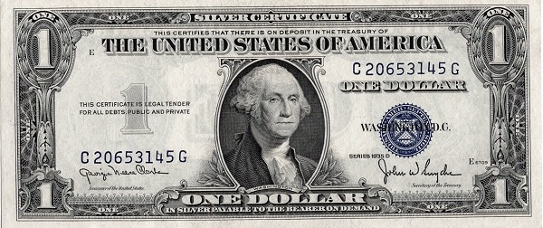 United States 1 Dollar (1935 Silver Certificate-Blue Seal-Serie D)