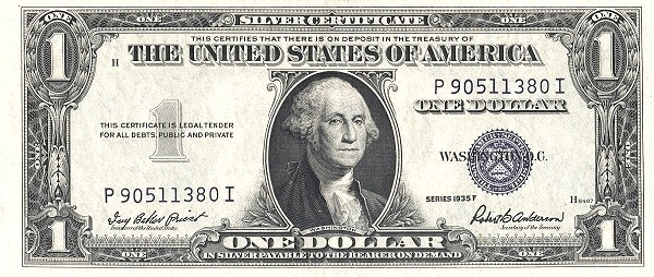 United States 1 Dollar (1935 Silver Certificate-Blue Seal-Serie D-With Back Plate Number)
