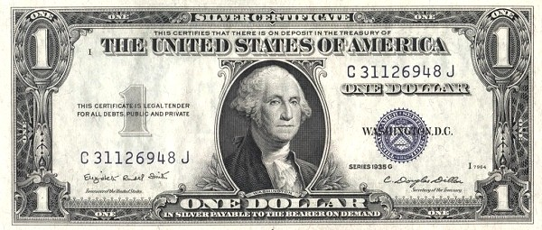 United States 1 Dollar (1935 Silver Certificate-Blue Seal-Serie G)