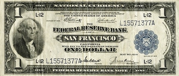 United States 1 Dollar (1918 Federal Reserve Note -Blue Seal)