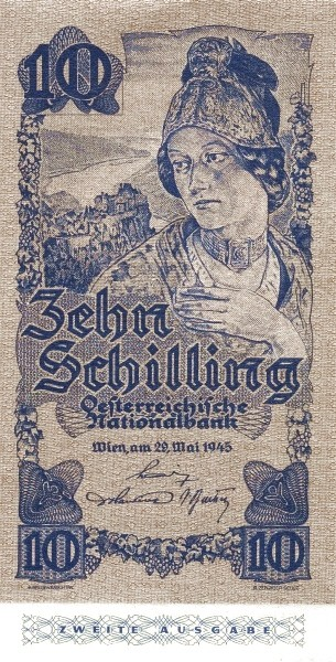 Austria 10 Schilling (1945 Oesterreichische Nationalbank 2nd issue)
